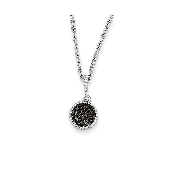 Tiny ホワイト & ブラック ダイヤモンド 8mm ラウンド ネックレス in スターリング シルバー(海外取寄せ品)