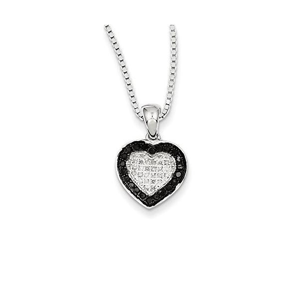 1/4 Ctw ホワイト & ブラック ダイヤモンド 13mm ハート ネックレス in スターリング シルバー(海外取寄せ品)