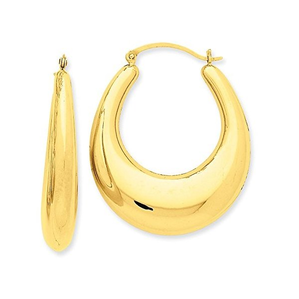 7mm x 40mm ポリッシュ 14K イエロー ゴールド Tapered パフ オーバル フープ Earrings(海外取寄せ品)