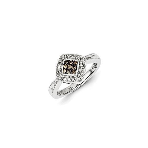 1/4 Ctw (I2-I3 clarity) シャンパーニュ & H-I ホワイト ダイヤモンド 12mm Rhombus リング(海外取寄せ品)