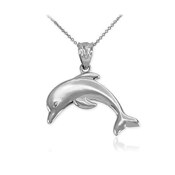 """ハイ ポリッシュ 14k ホワイト ゴールド Jumping Dolphin ペンダント ネックレス, 20""""(海外取寄せ品)"""