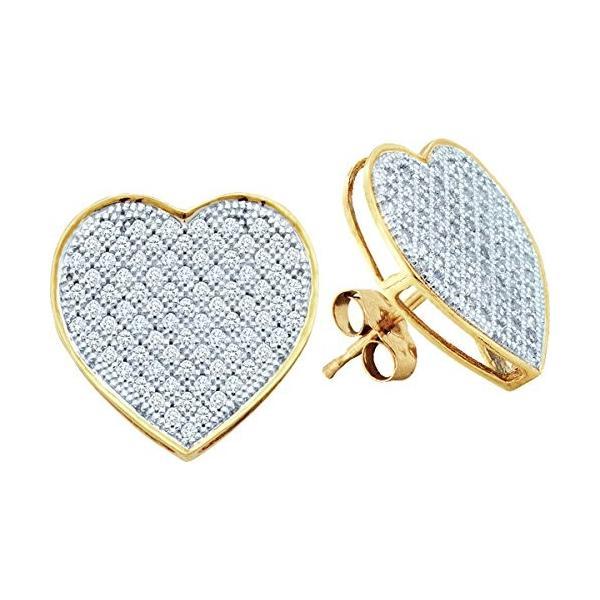 10kt イエロー ゴールド レディース ラウンド ダイヤモンド ハート ラブ Cluster Earrings 1/2 Cttw(海外取寄せ品)