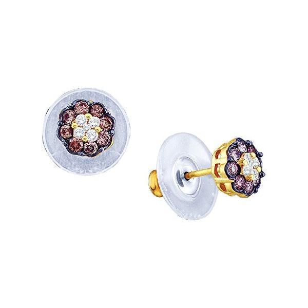 14kt イエロー ゴールド レディース ラウンド コニャック-ブラウン カラー ダイヤモンド Cluster Earrings 1(海外取寄せ品)
