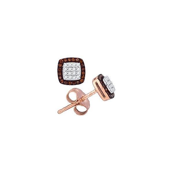 10kt ローズ ゴールド レディース ラウンド レッド カラー ダイヤモンド スクエア Cluster Screwback Ear(海外取寄せ品)