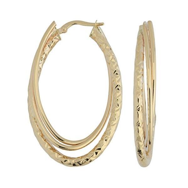 10k イエロー ゴールド ダイヤモンド-カット And ポリッシュ Double オーバル フープ Earrings(海外取寄せ品)