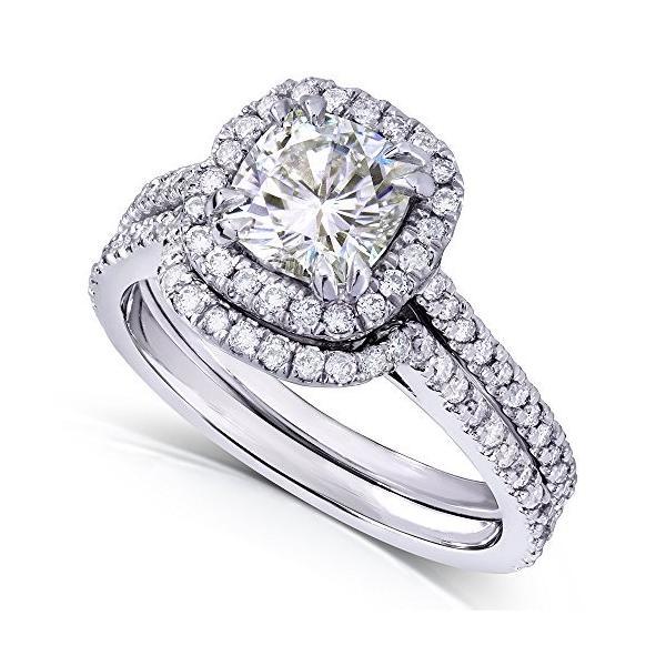 クッション-カット Moissanite & ダイヤモンド Bridal セット 1 5/8 Carat (ctw) in 14k (海外取寄せ品)
