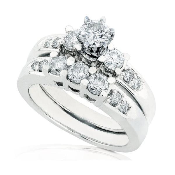 1 1/4ctw Three ストーン ラウンド ブリリアント ダイヤモンド ウエディング リング セット in 14Kt ホワイト(海外取寄せ品)
