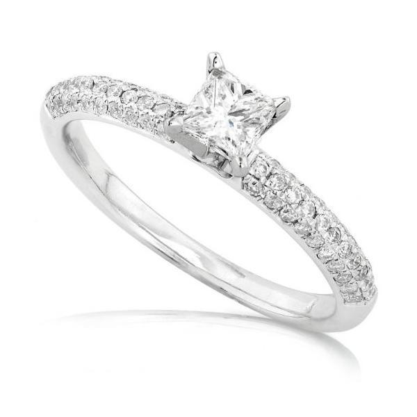 1/2 Carat プリンセス & ラウンド ダイヤモンド Engagement リング in 14kt ホワイト ゴールド - サ(海外取寄せ品)