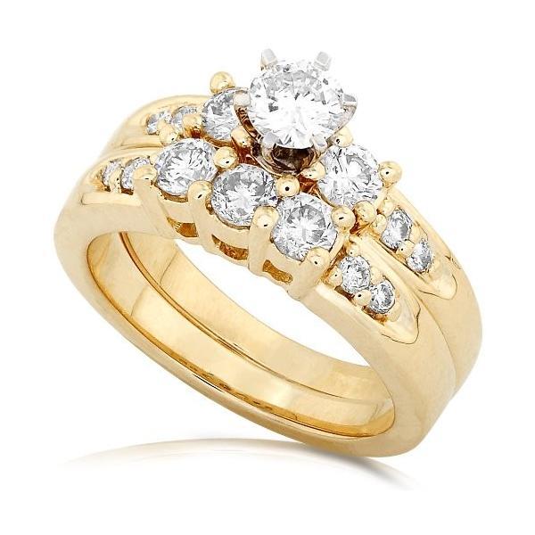 1 1/4ctw Three ストーン ラウンド ブリリアント ダイヤモンド ウエディング リング セット in 14Kt ゴールド(海外取寄せ品)