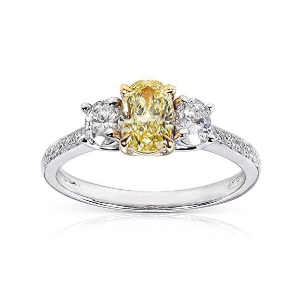 ファンシー イエロー and ホワイト ダイヤモンド Engagement リング 1 1/10 Carat (ctw) in 14(海外取寄せ品)