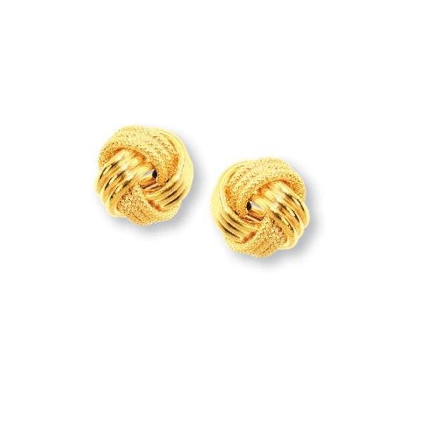 JewelStop 14k イエロー ゴールド ラブ Knot Earrings -12 mm(海外取寄せ品)