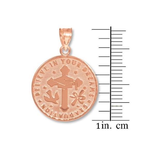 14k ローズ ゴールド リバーシブル Graduation Medallion チャーム ペンダント(海外取寄せ品)
