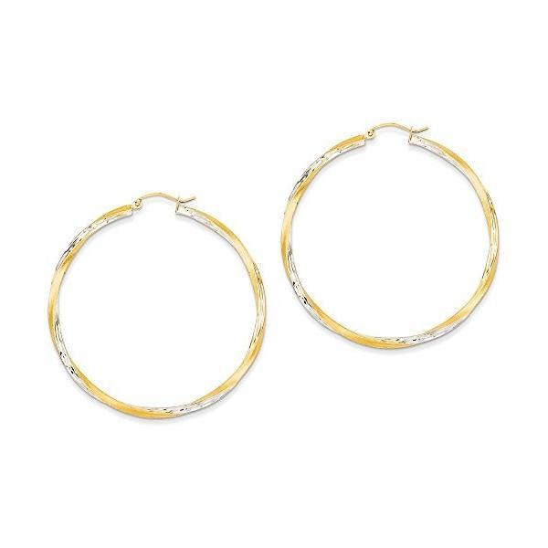 14k and ロジウム ブライト-カット 2.5mm ツイスト フープ Earrings(海外取寄せ品)