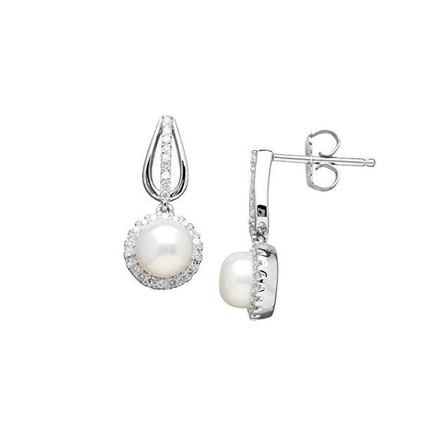 Cultured パール & 1/5 ct ダイヤモンド ドロップ Earrings in スターリング シルバー(海外取寄せ品)