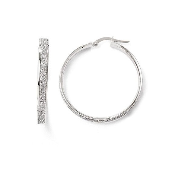 Finejewelers 14k ホワイト ゴールド ポリッシュ Glimmer Infused フープ Earrings(海外取寄せ品)