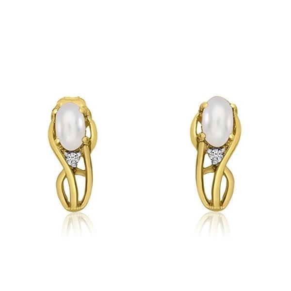 14K イエロー ゴールド Curved Freshwater Cultured パール and ダイヤモンド Earrings(海外取寄せ品)