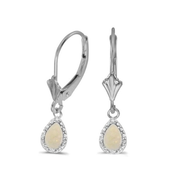 14k ホワイト ゴールド Pear オパール And ダイヤモンド Leverback Earrings(海外取寄せ品)