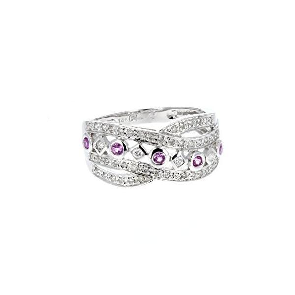 ダイヤモンド リング,, 14K- ホワイト ゴールド ダイヤモンド & ピンク サファイア リング(海外取寄せ品)