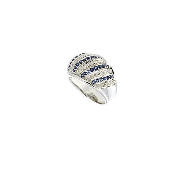 サファイア ダイヤモンド リング,, 14K ホワイト ゴールド ダイヤモンド & サファイア リング(海外取寄せ品)