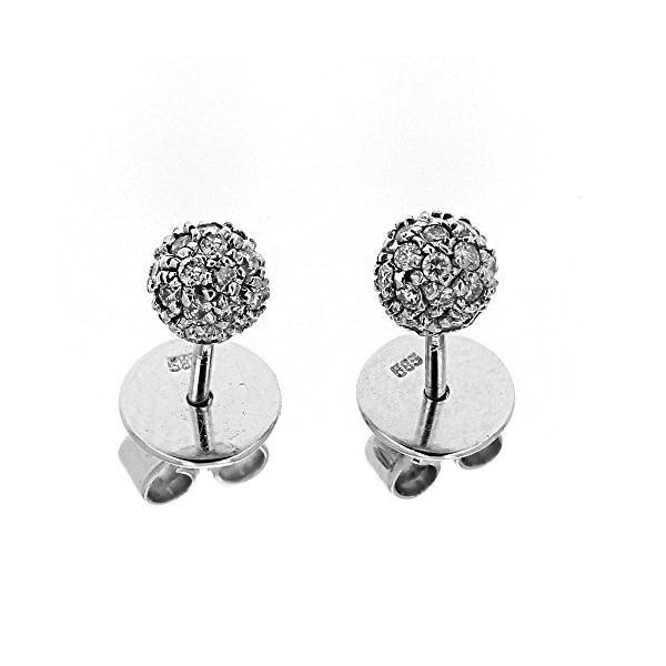 ダイヤモンド スタッド, 14kt ホワイト ゴールド ダイヤモンド スタッド Ball Earring, 0.20 TCW(海外取寄せ品)