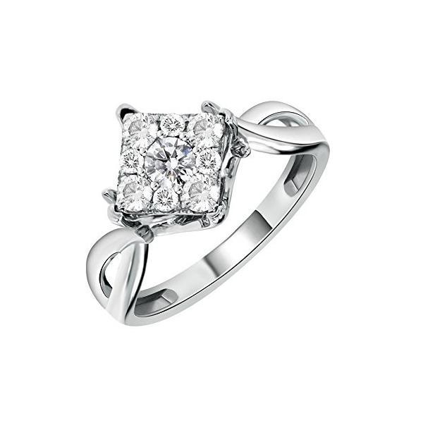 14K ホワイト ゴールド Pave セット スクエア シェイプ ダイヤモンド Engagement リング (0.50 Carat(海外取寄せ品)