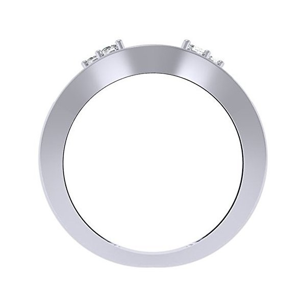 0.40 Carat (ctw) 14K ホワイト ゴールド ラウンド ダイヤモンド レディース アニバーサリー ウエディング En(海外取寄せ品)