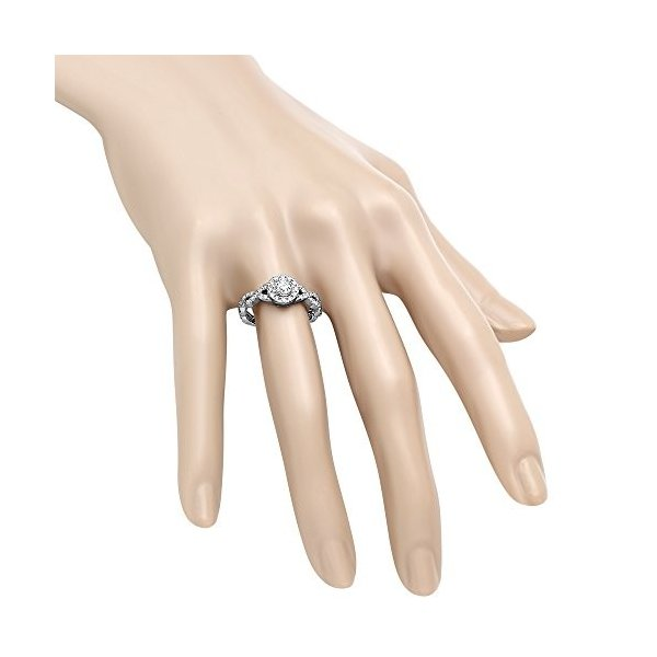 0.90 Carat (ctw) 14K ホワイト ゴールド ラウンド ダイヤモンド スワール Split Shank Bridal(海外取寄せ品)