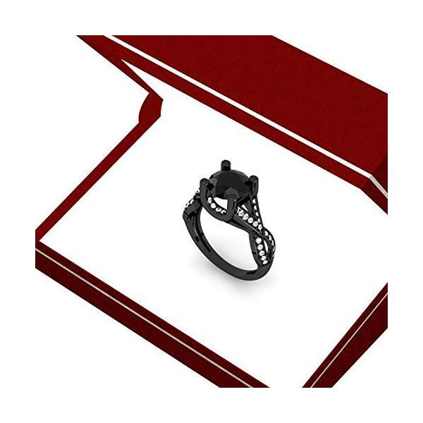 3.75 Carat (ctw) ブラック ロジウム プレート 10K ホワイト ゴールド ダイヤモンド ヴィンテージ Bridal(海外取寄せ品)