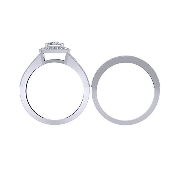 1.00 Carat (ctw) 10K ホワイト ゴールド プリンセス & ラウンド ダイヤモンド レディース Engagemen(海外取寄せ品)