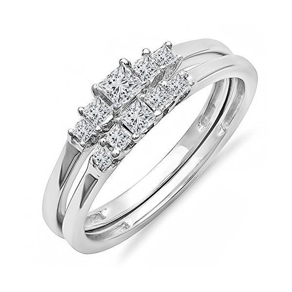 0.55 Carat (ctw) 14k ホワイト ゴールド プリンセス ダイヤモンド レディース 5 ストーン Bridal リン(海外取寄せ品)