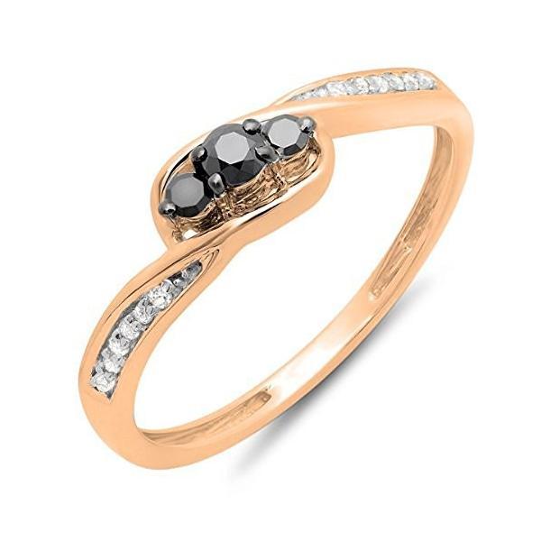 0.25 Carat (ctw) 14k ローズ ゴールド ラウンド ブラック & ローズ ダイヤモンド 3 ストーン Bridal(海外取寄せ品)