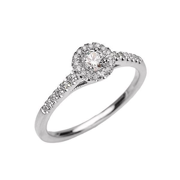 14k ホワイト ゴールド ホワイト Topaz and ダイヤモンド Engagement Proposal Dainty リング(海外取寄せ品)