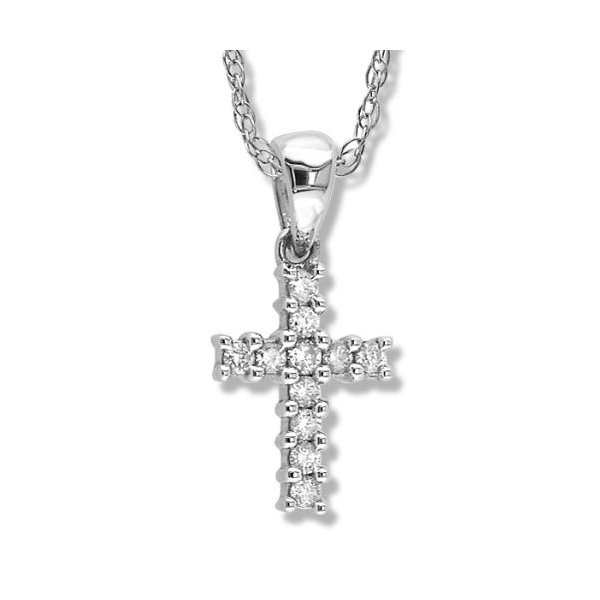 Petite Prong セット ダイヤモンド クロス ペンダント in ホワイト ゴールド(海外取寄せ品)