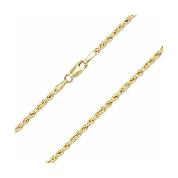 10K イエロー ゴールド 2mm ダイヤモンド カット ホロー Rope チェーン ネックレス ロブスター クラスプ, 24 イン(海外取寄せ品)
