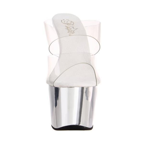 Pleaser レディース Adore-702 Sandal,Clear/シルバー クローム,12 M Us(海外取寄せ品)