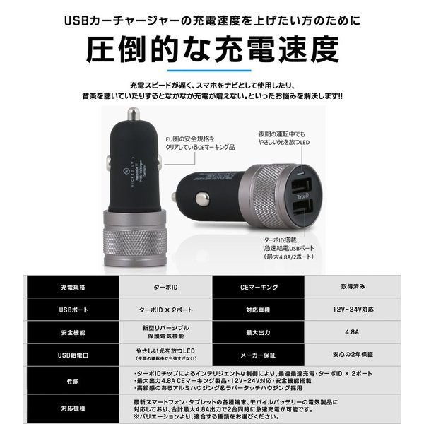 シガーソケット USB 2ポート 車載用 充電器 車 急速 iPhone Android スマホ 12V 24V カーチャージャー 4.8A タブレット Wicked Chili|ta-creative|07