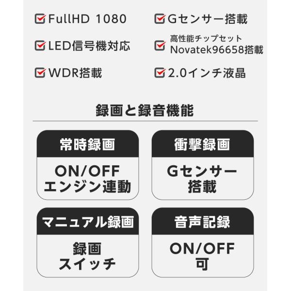 ドライブレコーダー 前後 ドラレコ 1080P フルHD 2.0インチ 170°広視野角 前後2カメラ 同時録画 360°回転レンズ HDR機能 駐車監視 動体検知 YAZACO Y880 ta-creative 03