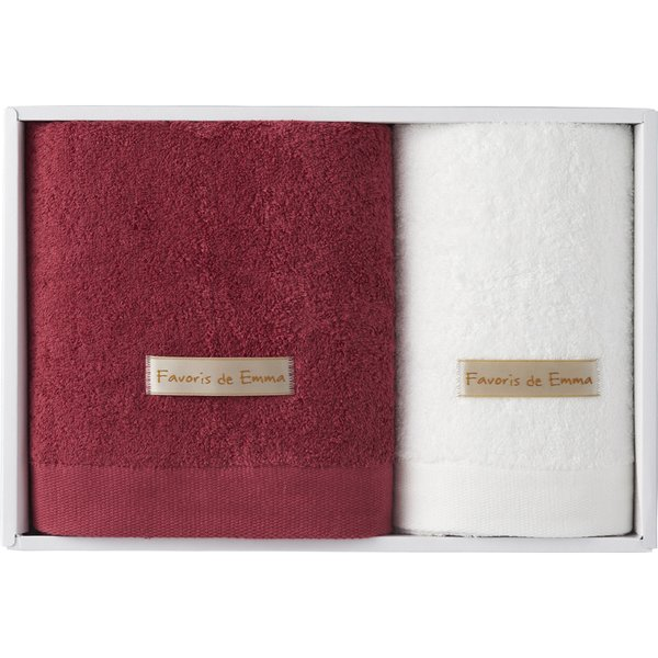 ハーフバスタオル&フェイスタオル ラズベリーピンク/ホワイト EM03503 (個別送料込み価格) (-C2045-620-) | 内祝い ギフト 出産内祝い お返し 志