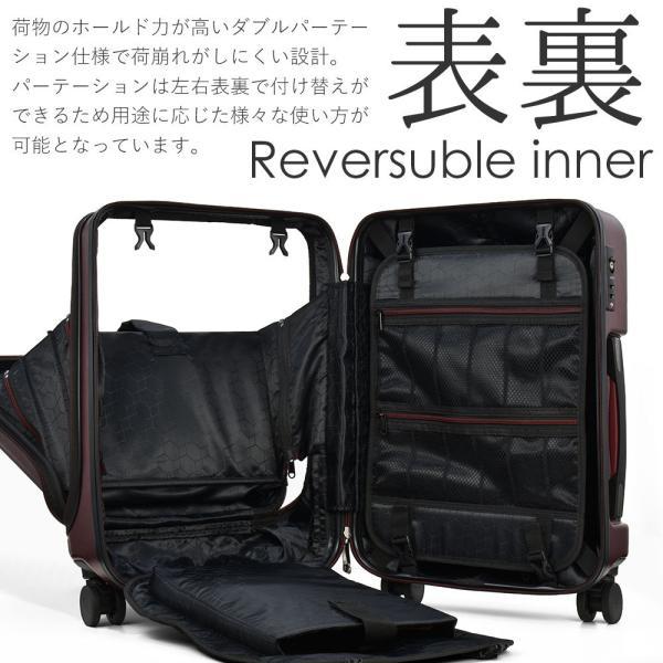 スーツケース 機内持ち込み Sサイズ フロントオープン ファスナー ビジネス キャリーバッグ キャリーケース フロントポケット tabi 13