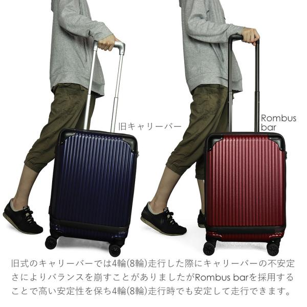 スーツケース 機内持ち込み Sサイズ フロントオープン ファスナー ビジネス キャリーバッグ キャリーケース フロントポケット tabi 17