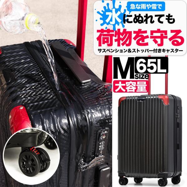 スーツケース キャリーケース Mサイズ 中型 止水ファスナー ストッパー ブレーキ サスペンション 静音 8輪キャスター 軽量 キャリーバッグ 旅行 国内 おしゃれ