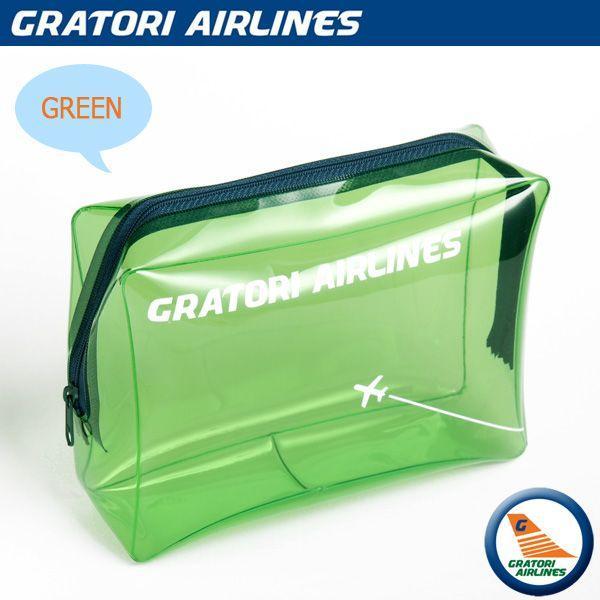 カラービニルがPOPなポーチ♪GRATORI AIRLINES グラトリ エアラインズ ビニルポーチLサイズ 旅行用品 トラベルグッズ エアラインデザイン