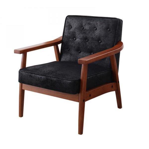 ソファー 1人掛け 肘付き 木製 ファブリック ヴィンテージ加工|table-lukit
