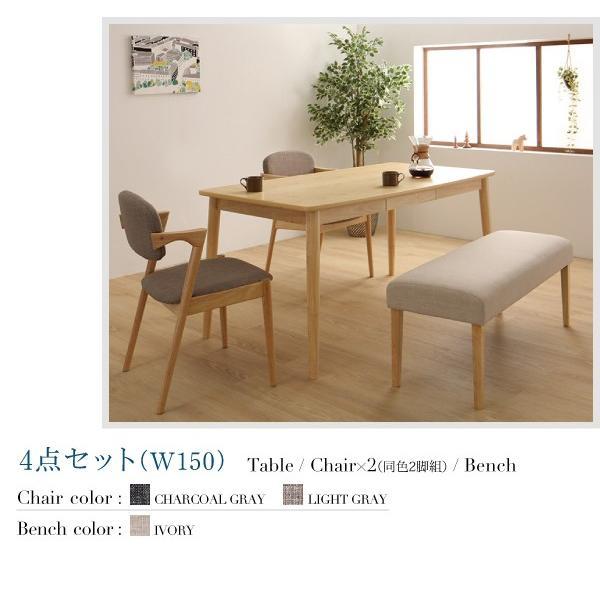 ダイニングテーブルセット 4人用 5点セット 〔引き出し付きテーブル幅150cm+チェア4脚〕 北欧スタイル|table-lukit|13