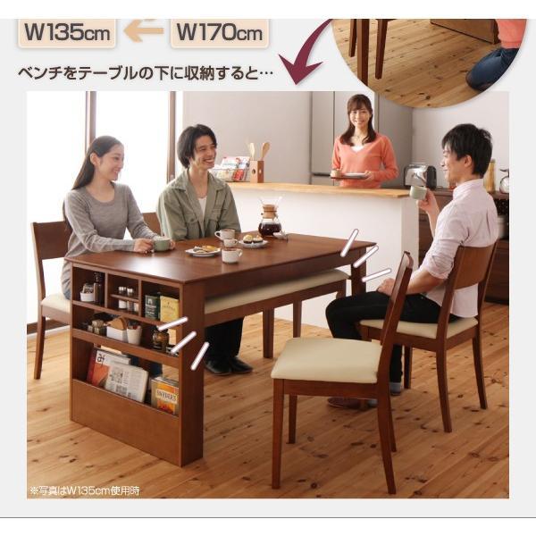 ダイニングテーブルセット 6人用 3点セット 〔伸縮式テーブル幅135〜170cm+3人掛けベンチ2脚〕 収納付きテーブル|table-lukit|03