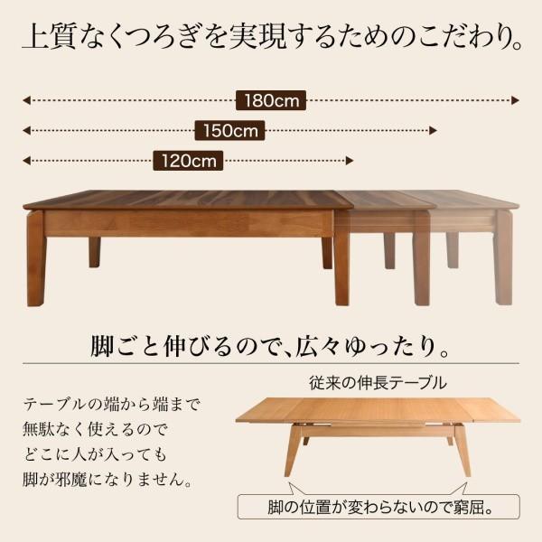 伸長式テーブル 天然木 リビングテーブル 3段階伸長式 〔幅120〜150〜180×奥行き75×高さ37cm〕 table-lukit 05