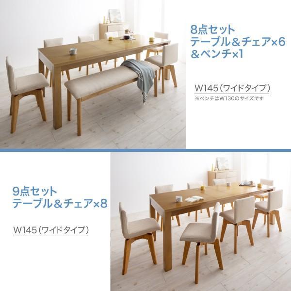 ダイニングテーブルセット 6人用 伸長式 6点セット 〔伸縮テーブル幅145?175?205cm+チェア4脚+ベンチ1脚〕 table-lukit 16