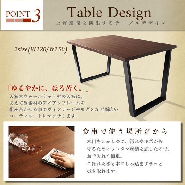 アイアンフレームテーブル 150cm幅 スチール脚テーブル 天然木ウォールナット材の天板 table-lukit 08