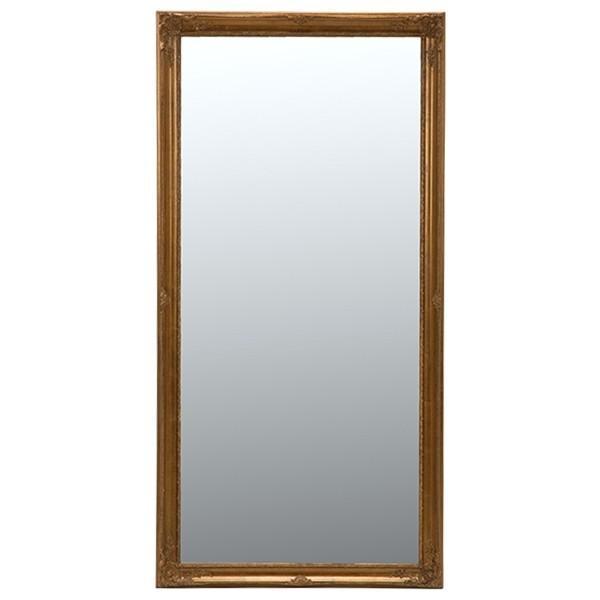 スタンドミラー/全身姿見鏡 〔ビックサイズ/立てかけタイプ〕 木製 幅90cm×高さ180cm アンティーク調 MD-7712GD ゴールド