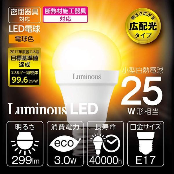 ルミナス LED小型電球 E17口金 25W相当 電球色 広配光タイプ 密閉器具対応 EG-A25GML|tachibanamarketpro|03